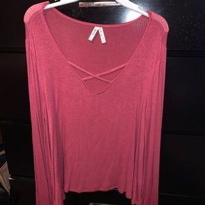 Flowy sleeved pink long sleeve